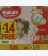 Huggies Ultra Comfort No 6 ( 15-30kg)  Special Offer 54 +14 Free