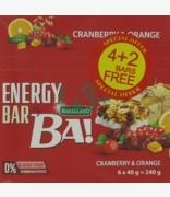 Bakalland Energy Bar Ba! Cranberry & Orange 4+2 Free